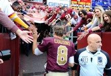 Oct 25, 2015; Landover, MD, USA; Washington Redskins quarterback Kirk Cousins (8) is congratulated by fans after the game between the Washington Redskins and the Tampa Bay Buccaneers at FedEx Field. The Washington Redskins won 31 - 30. Mandatory Credit: Brad Mills-USA TODAY Sports ORG XMIT: USATSI-224634 ORIG FILE ID:  20151025_jla_au3_126.jpg